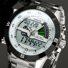 2017 New WEIDE Sport Men Watch LED Men's Full Steel Quartz Watches Backlight Dual Time Wrist Watch Relogio Masculino Esportivo