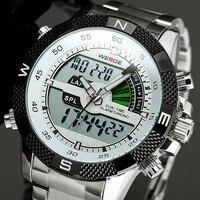 2017 Nuevo WEIDE Sport Reloj de Los Hombres LED de Los Hombres Relojes de Cuarzo de Acero Completo Backlight Dual Time Reloj de pulsera Relogio masculino Esportivo