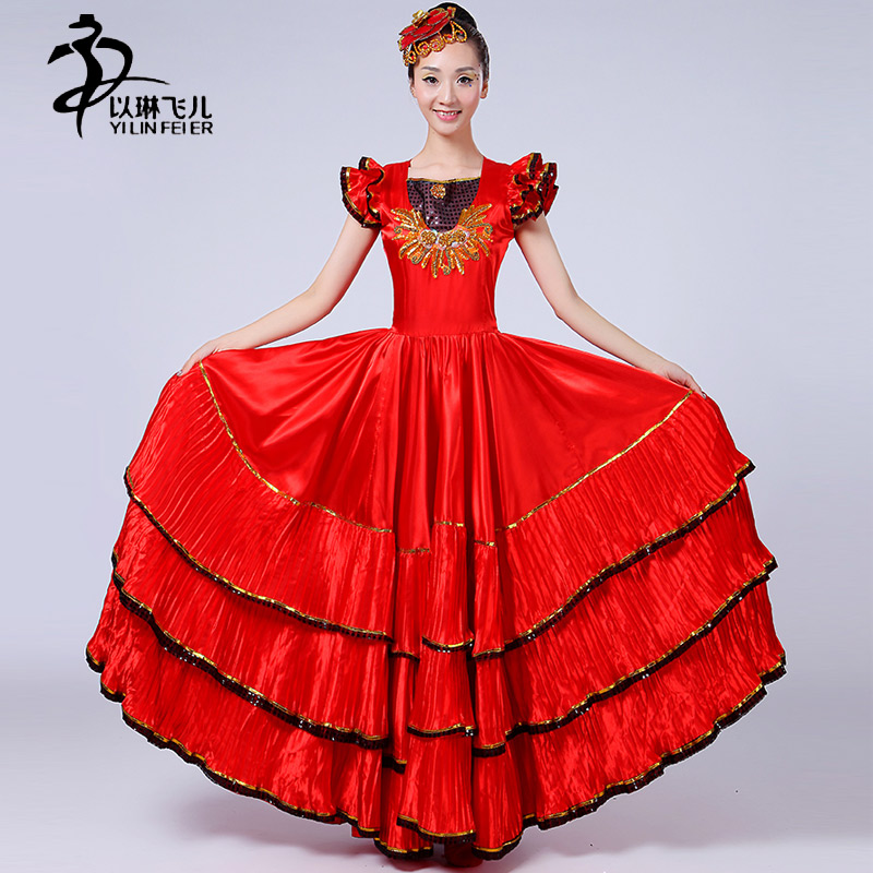 Red Flamenco Costume Women Spanish Flamenco Stage Performance 360/ 540/ 720 Degrees Skirts Lady Short Sleeve Opening Dance Skirt