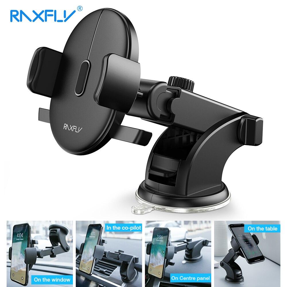RAXFLY Voorruit Mount Auto Telefoon Houder in de Auto Voor Samsung S9 S8 Plus 360 Rotatie Autohouder Voor iPhone X telefoon Stand Ondersteuning