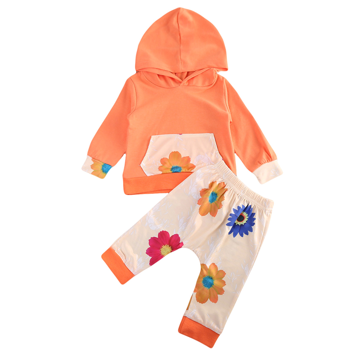 Fashion Baby Clothing Sets Girls Hooded Sweatshirt Tops + Floral Pants 2pcs Autumn Winter Long Sleeve Outfits Clothes Set 3 pcs set girls baby clothing sets sleeveless shirt tops floral pants headband vogue clothes 2 6 year hot selling