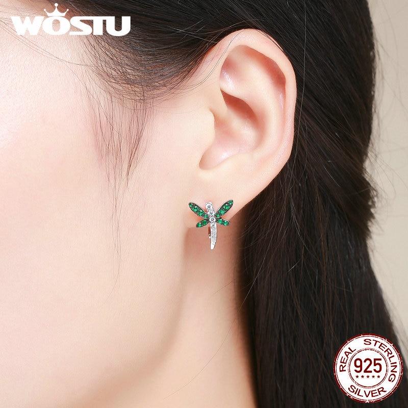 WOSTU 100% 925 Sterling Silver Dragonfly Animal Green Cubic Zircon Clip Earrings Valentine Day for Women Fine Jewelry BKE186