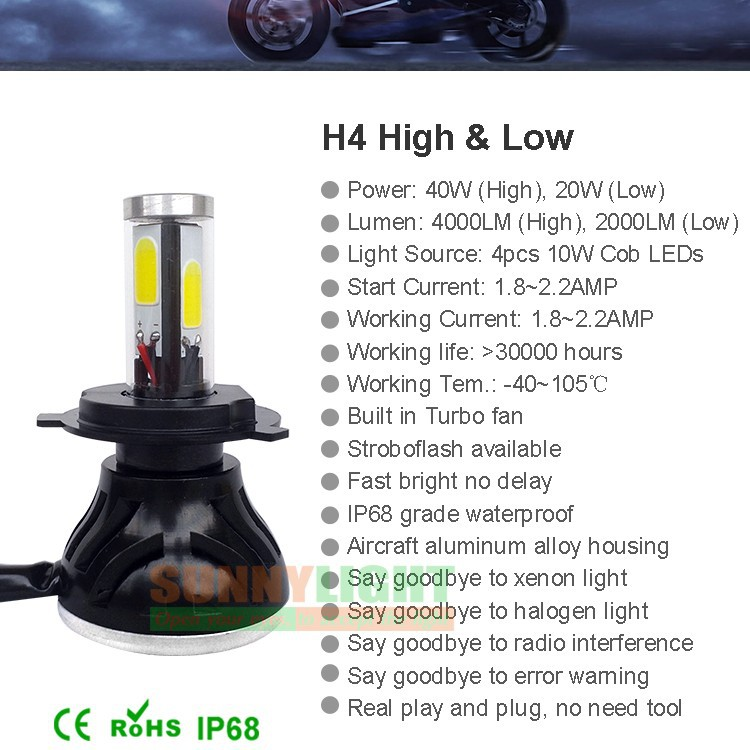 28- H4 hi lo high low led headlight high power 40W motorcycle moto bike headlamp