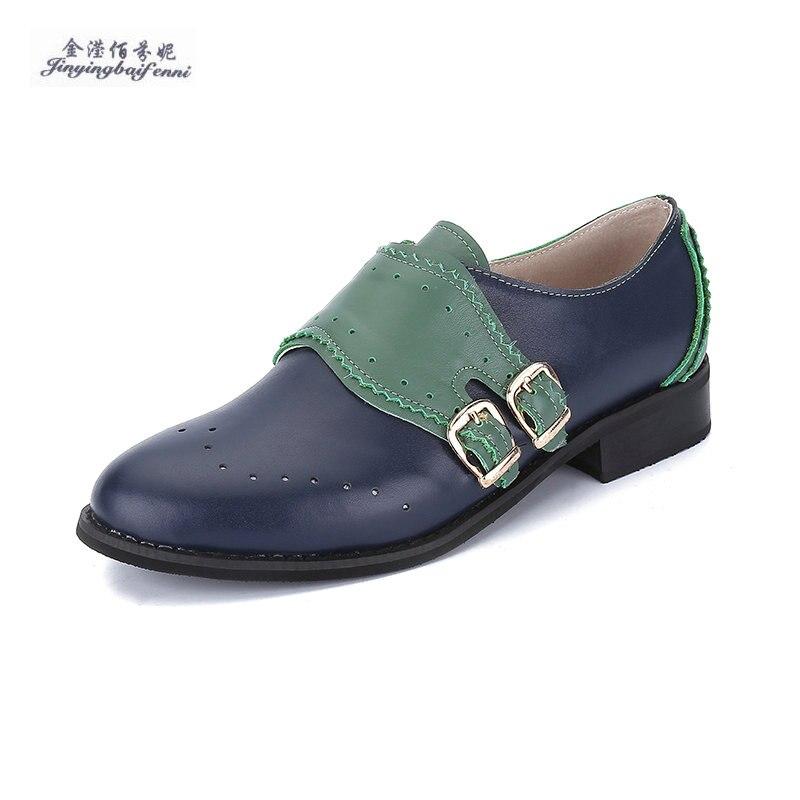 13 Farbe Optionen Vier Jahreszeiten Schuhe Für Frauen Farbabstimmung Oxford Weiblichen Hohe Qualität 100% Rindsleder Brogues Wohnungen Frauen