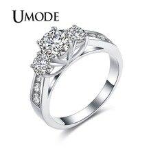 UMODE горячие классические три обручальные кольца с камнями белого золота цвет 1ct основной кубический цирконий Свадебные кольца ювелирные изделия Anel UR0337