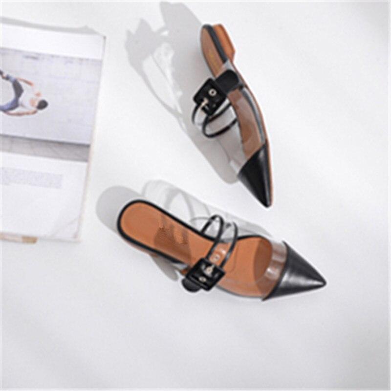 Sexy Pointu Talons Show Partie Splice Chaussures Pompes Mujer Femme Bout Zapatos Show Sur Sangle as Slip Nouvelles Boucle As Hauts Slingback Mules Transparent qwFgqrI