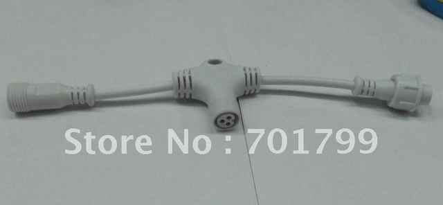 3core T type waterproof splitter;white color;the male connect's diameter;13.5mm