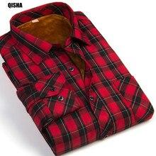 QiSha M16xx 2016 Fashion Männlich Günstige Qualität winter shirt männer Plaid Langarm Thermische Warme Samt gepolstert China Herren Kleidung