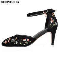 OUQINVSHEN Ethnic Embroider Pointed Toe Sandals High Heels Casual Fashion Flower Summer Women Sandals Thin Heels