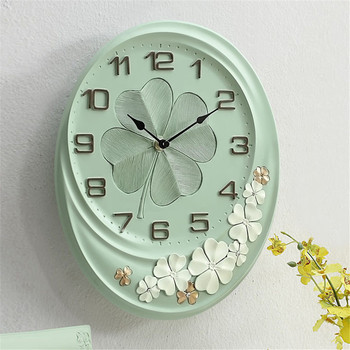 European Pastoral Lucky Leaves Wall Clock Nordic Pink Mute Large Mute Decorative Clocks Best Selling 2019 Products 3DBGV73