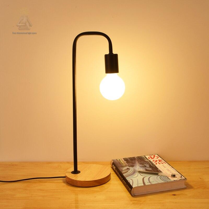 28 87 19 De Réduction Simple Salon Chambre Pas Cher Décor à La Maison Moderne Bref Lampe De Chevet En Bois Fer Petite Lampe De Table Décor à La