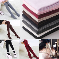 Women Fashion Winter Soft Warm Long Cotton Stockings Ladies Over Knee Thigh High Stockings