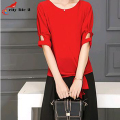 Hollow Shoulder Red Short Sleeve Slim Office Blouses With Wide Legging Pants 2016 Female Two Pieces Work Wear Blusas Femininas