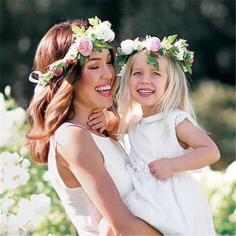 2018 Bohemian Handmade Flower Headband Women Kids Flower Crown Wedding Garland Hair Accessories Floral Hairband Bridal Gift