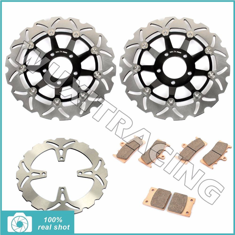 310mm Full Set Front Rear Brake Discs Rotors + Sintered Pads for SUZUKI GSF1200 GSF 1200 S Bandit 2001 2002 2003 2004 2005 01-05 mfs motor motorcycle part front rear brake discs rotor for yamaha yzf r6 2003 2004 2005 yzfr6 03 04 05 gold