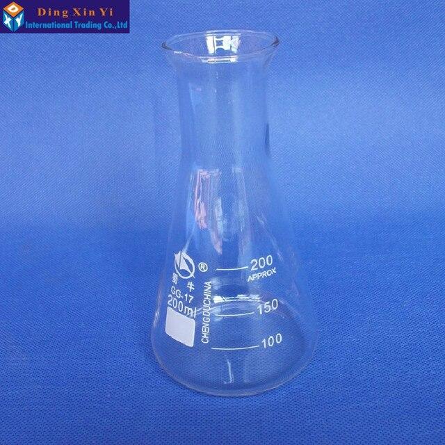(4 ชิ้น/ล็อต) 200 มิลลิลิตรแก้ว Erlenmeyer กระติกน้ำแก้วรูปกรวย 200 มิลลิลิตรห้องปฏิบัติการใช้แก้วสามเหลี่ยมขวดแก้ว BORO, GG17