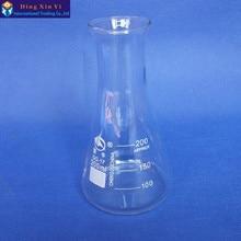 (4 unids/lote) 200ml matraz de Erlenmeyer de vidrio cónico de 200ml frasco de uso de laboratorio de vidrio triángulo frasco de BORO de GG17