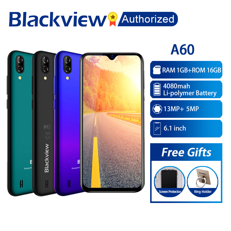 "Blackview A60 Phone 1GB RAM 16GB ROM Smartphone 6.088"" 19.2:9 Display Full Screen MT6580A Quad Core 8MP Android 8.1 Mobile Phone"