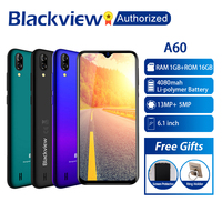 Blackview A60 Phone 1GB RAM 16GB ROM Smartphone 6.088 19.2:9 Display Full Screen MT6580A Quad Core 8MP Android 8.1 Mobile Phone
