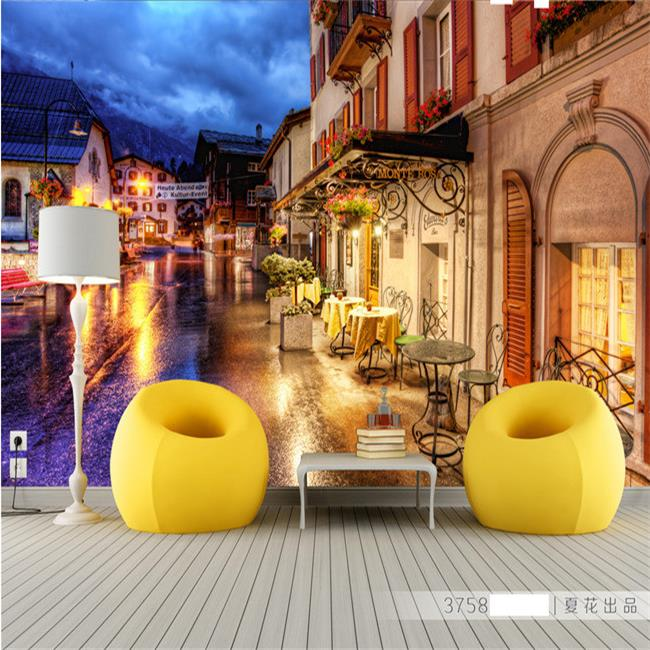 Free Shipping Large Wall Mural Retro Stereo 3D European Night Wallpaper TV  Background Wallpaper Mural( Part 77