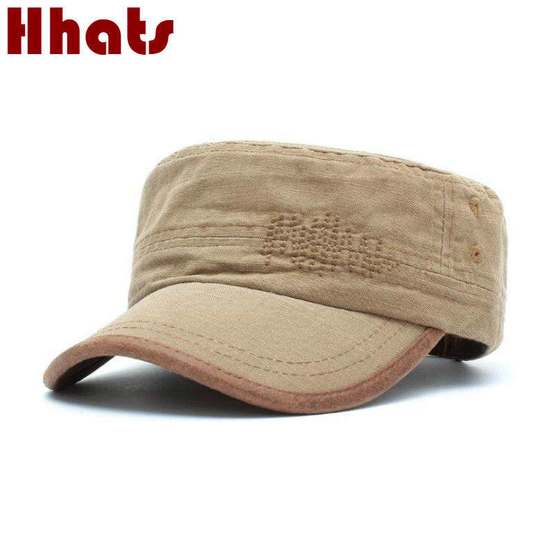Casual Cotton Male Flat Cap Adjustable Vintage Men Military Cap High Quality Summer Army Hat Retro Flat Top Baseball Cap Bone