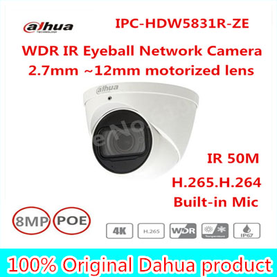 Dahua 2017 New Arriving cameras 8MP WDR IR Eyeball Network Camera IPC-HDW5831R-ZE free DHL shipping