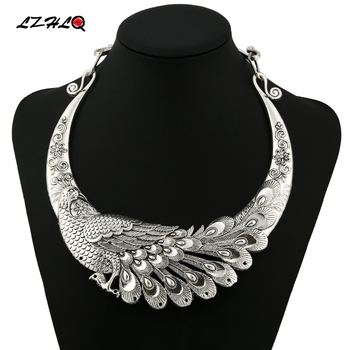 LZHLQ Brand Retro Carved Peacock Collar Choker Statement Necklace