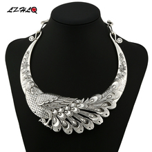 LZHLQ Brand Retro Carved Peacock Collar Choker Statement Necklace Women 2017 New Zinc Alloy Necklaces Trendy Collares Collier