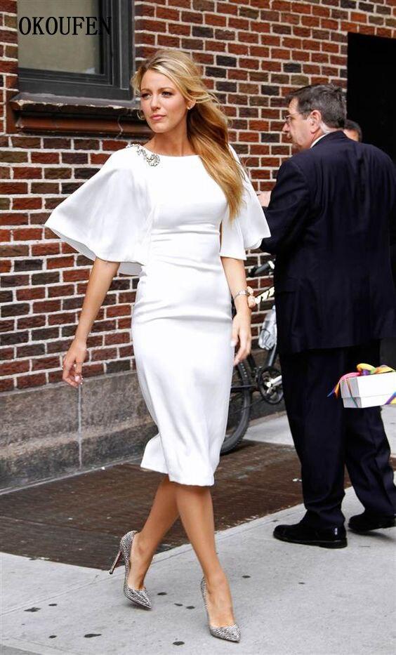 Simple Mother Of The Bride Dresses 2019 Knee Length Short White Capelet Sheath Vestido De Madrinha Farsali Madre De La Novia