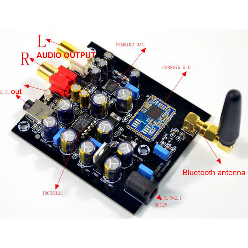 Csr8675 aptx hd bluetooth 5.0 receptor sem fio jrc5532 pcm5102a  i2s dac decodificação suporte lossless 24bit com antenaAmplificador