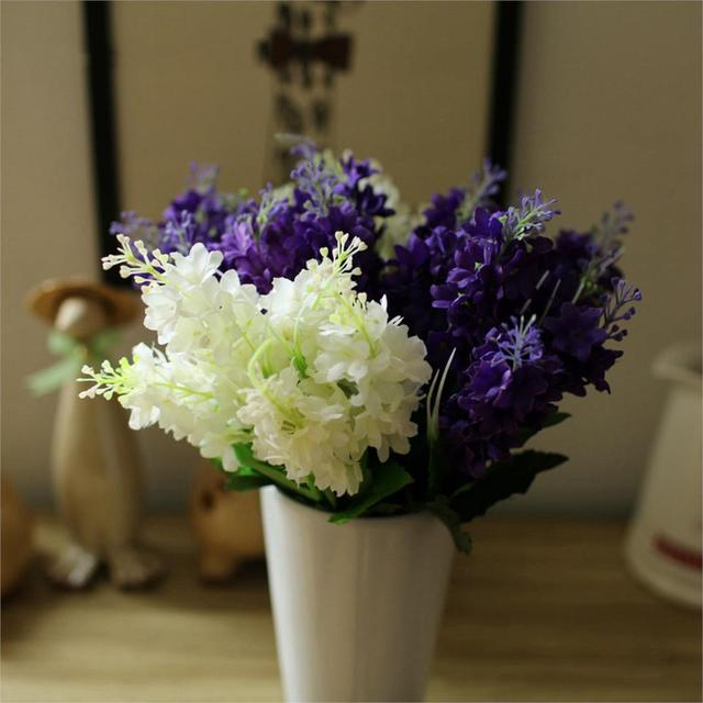 dark purple white 5 heads artificial fake hyacinth flower wedding