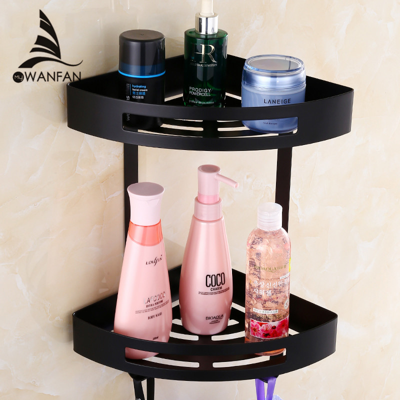 Bathroom Shelves Stainless Steel 2 Tiers Corner Shelf Shower Caddy Storage Shampoo Basket Wall Kitchen Corner Sticky Holder 9287 double celebration of finishing the cracks movable side refrigerator kitchen corner shelf plastic three shelves 1064