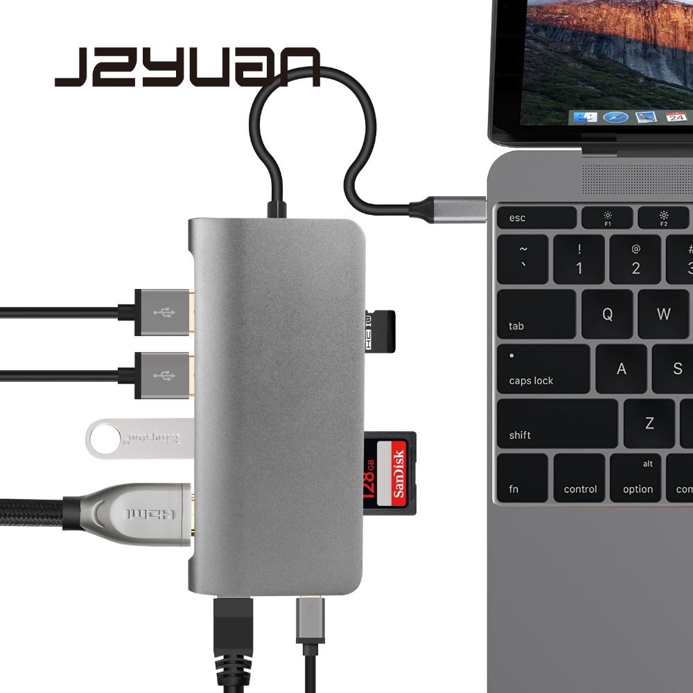 JZYuan USB C 3.1 HUB HDMI 4K RJ45 LAN USB 3.0 SD/TF Card Reader Adapter With Type C PD Charging Port For Laptop Macbook Pro DELL недорго, оригинальная цена