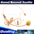 Free Shipping 5Pcs Beige Screw Thread Lock 3.5mm Plug Ear Hook Headworn Headset Microphone Mic For Wireless BodyPack Transmitter