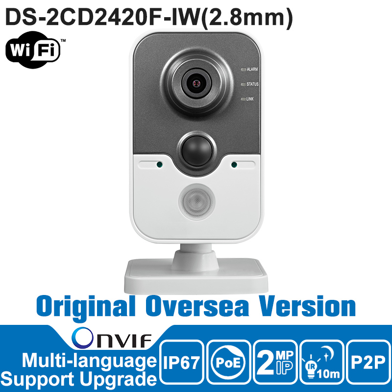Hikvision IP Camera Wifi 2MP DS-2CD2420F-IW Wireless IP Camera 1080P POE English Version Mini Wifi Camera Support P2P SD Card hikvision ds 2de7230iw ae english version 2mp 1080p ip camera ptz camera 4 3mm 129mm 30x zoom support ezviz ip66 outdoor poe