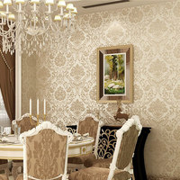 Non Woven Embossed Bedroom Wallpaper Modern Damask Wallpaper White Wallcovering Classic Wall Papers 3d Wallpaper For