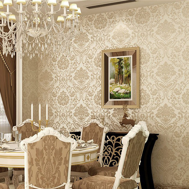 Non-woven embossed bedroom wallpaper Modern damask wallpaper white wallcovering classic wall papers 3d wallpaper for living room high quality modern simple non woven flocking wallpaper 3d stereoscopic embossed wall papers home decor living room wallpaper