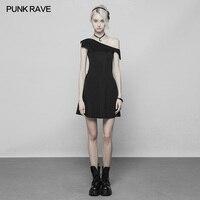PUNK RAVE Girls Punk Black Bat Sleeve Dress Summer Fashion Women Sexy Party Pleated Dress