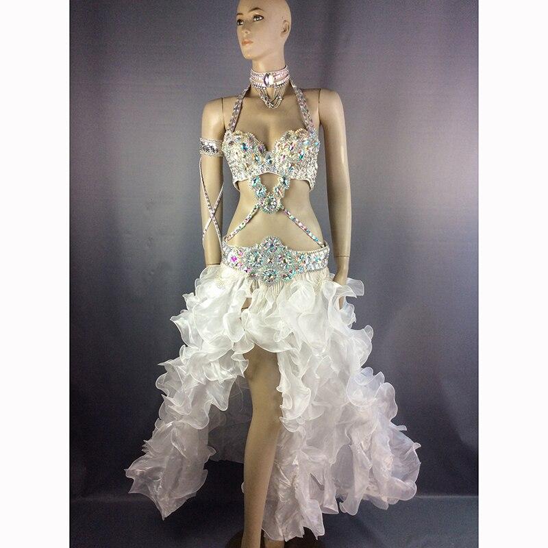 Livraison gratuite Nouveau femmes costume de danse du ventre carnaval danse du ventre vêtements halloween danse du ventre soutien-gorge et ceinture et jupe 5 pièces costume