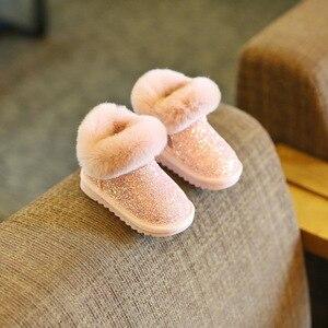 Image 4 - Claladoudou 12 18CM enfants filles Bling Bling bottes de neige 1 2 3 6 ans bébé fille bottines gris bébé chaussures bambin chaussons 11