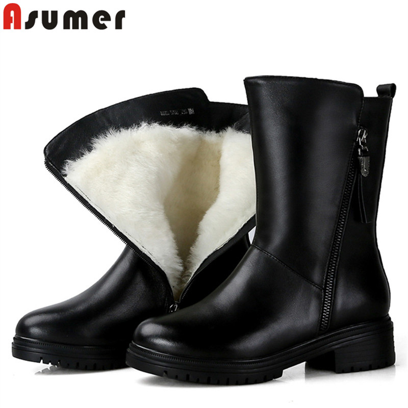 ASUMER 2018 fashion ankle boots for women round toe zip genuine leather boots med heels ladies wool keep warm snow boots цены онлайн