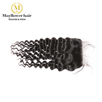 Mayflower 100% Virgin Malaysian hair 4X4 Lace closure Deep wave Full hand tied with baby hair line No tangle no shedding
