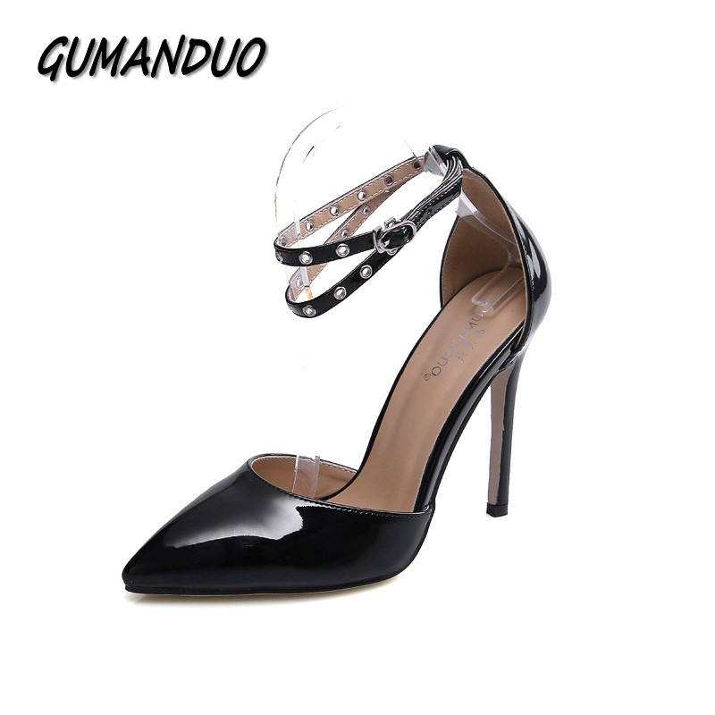 GUMANDUO New strap buckle rivets women pumps pointed toe high heels shoes woman party wedding dress ladies stiletto shoes women pumps flock high heels shoes woman fashion 2017 summer leather casual shoes ladies pointed toe buckle strap high quality