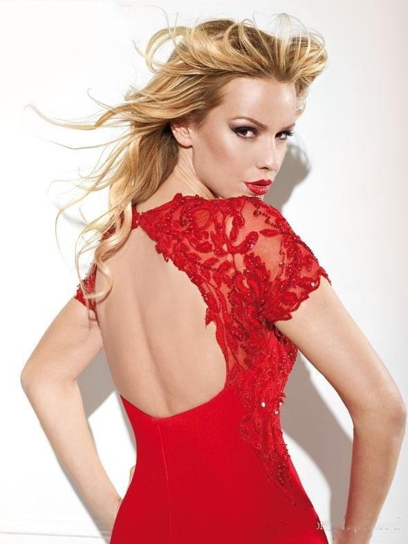 Формалей ну вечеринку театрализованное пром платья вечернее платье с с круглым вырезом короткий рукав красный с низким вырезом на спине русалка вышивка бисером шифон пром платья