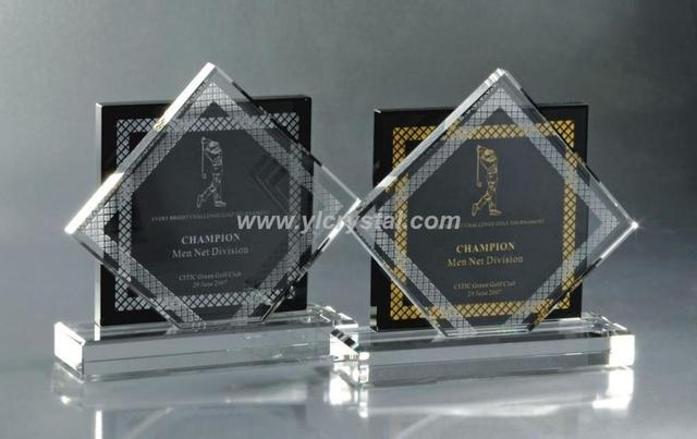 Popular New Design Crystal Trophy Award Black And Clear Glass Souvienir Gifts