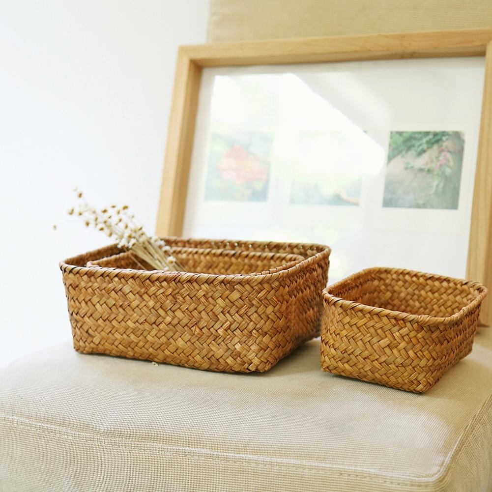 Handmade Straw Dried Flower Fruit Pot Basket Rattan Box Candy Earphone Organizer Useful Storage Basket Cesto Panier De Rangement