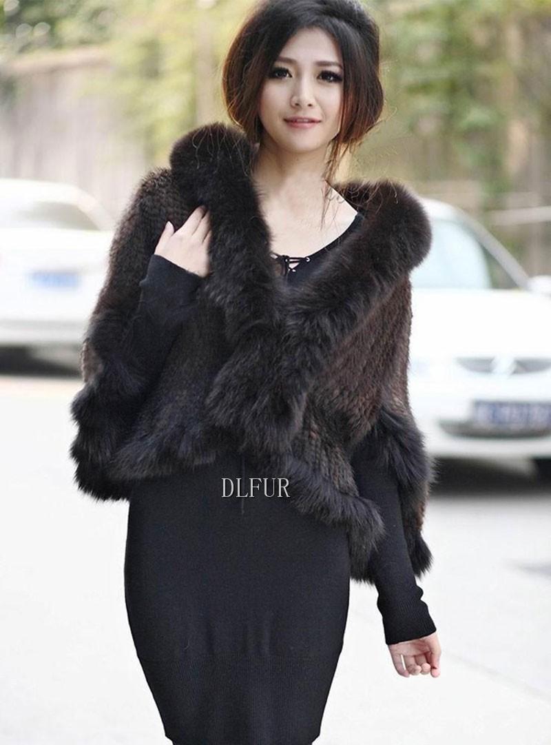 Hot Sale Genuine Mink Fur Shawl With Fox Fur Trim Women Natural Mink Fur Poncho Winter Knitted Mink Fur Jackets DL6235 (14)