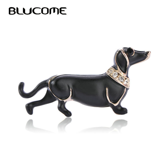 Blucome Vivid Black Big Belly Dog Brooches For Scarf Sweater Shoulder Collar Jew