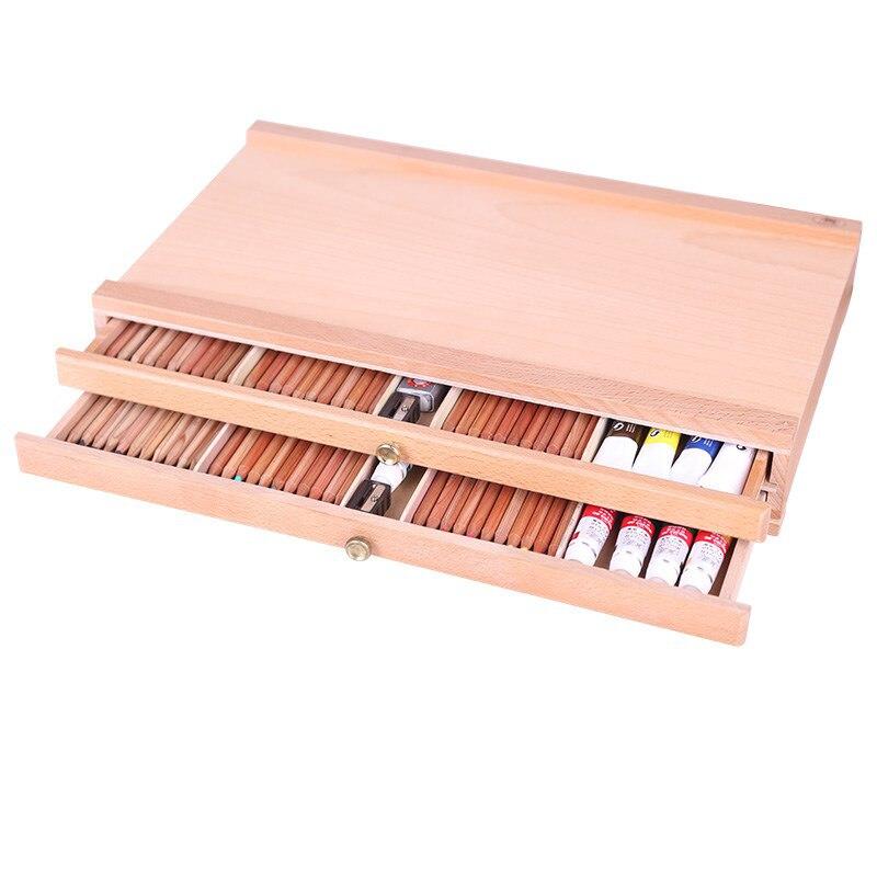 Artiste table bureau en bois Portable chevalet hêtre peinture boîte avec trois couches tiroirs pour peinture matériel Art fournitures