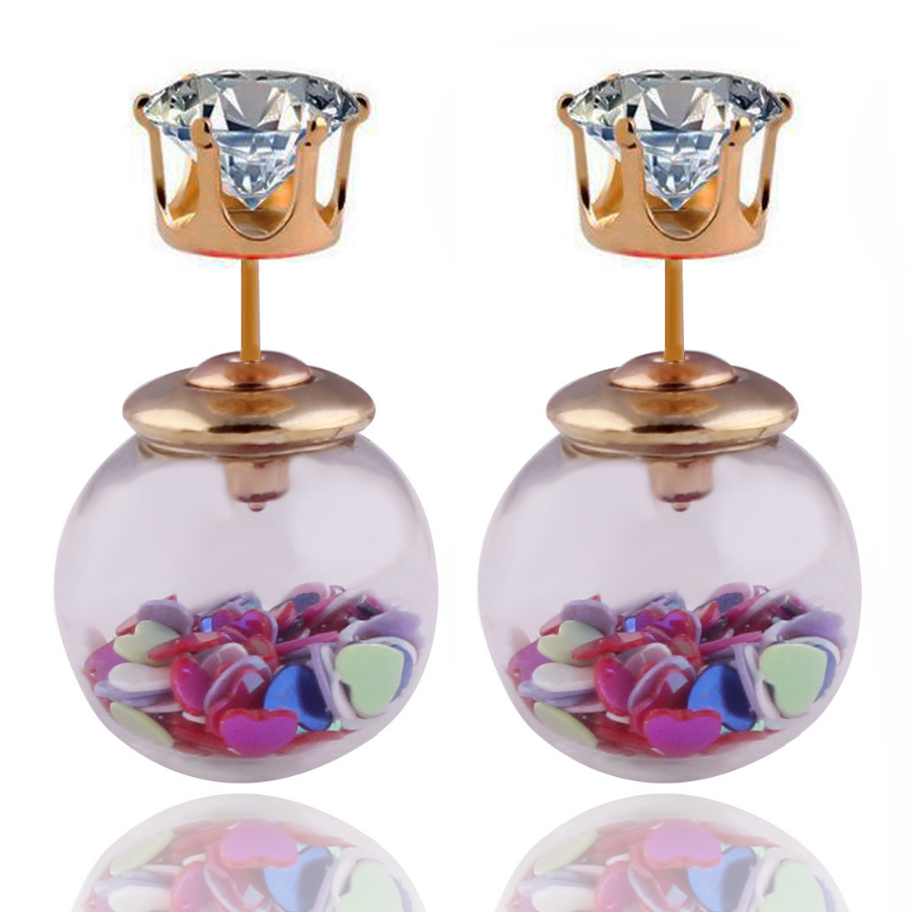 2016 New Fashion Heart Big Glass Ball Double Sides Pearl Earrings Gold Crystal Crown Stud Earrings Women des boucles doreilles